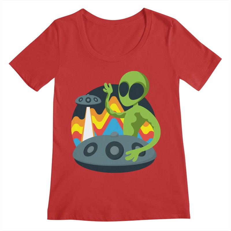 Green Alien Playing Handpan Women's Regular Scoop Neck by Handpan Merch (T-shirts, Hoodies, Accessories)