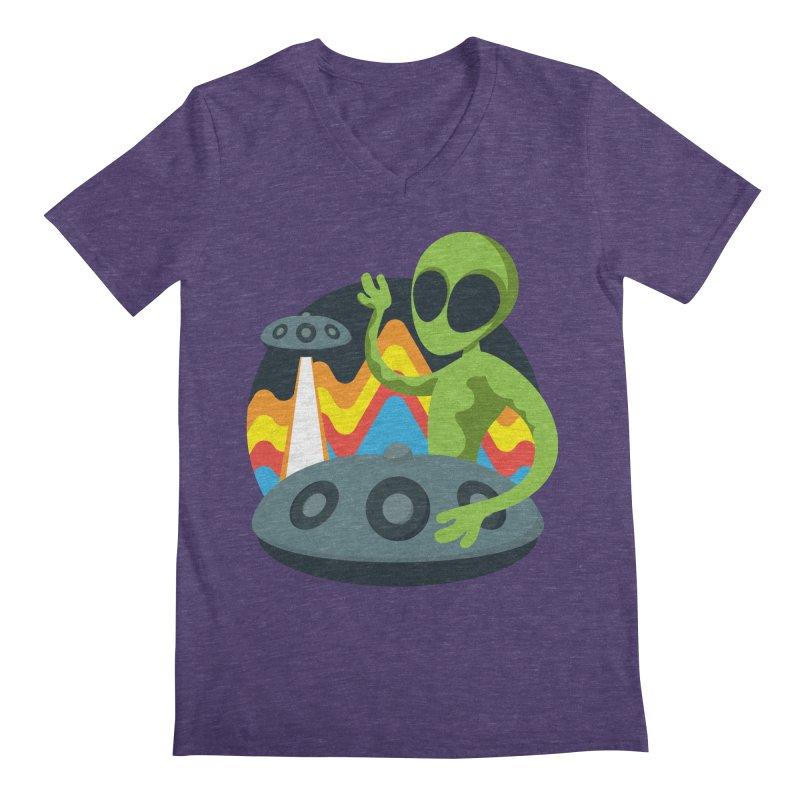 Green Alien Playing Handpan Men's Regular V-Neck by Handpan Merch (T-shirts, Hoodies, Accessories)