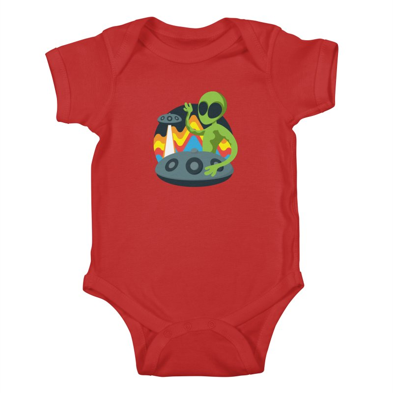 Green Alien Playing Handpan Kids Baby Bodysuit by Handpan Merch (T-shirts, Hoodies, Accessories)