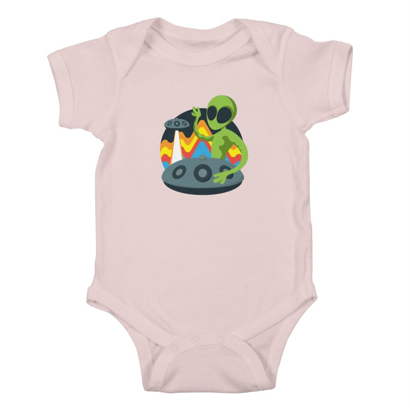 Green Alien Playing Handpan Kids Baby Bodysuit by Handpan Merch (T-shirts, Hoodies, Accessories)