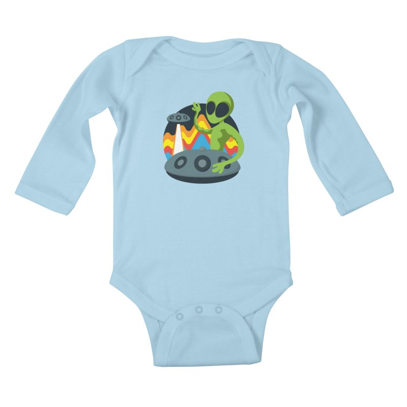 Green Alien Playing Handpan Kids Baby Longsleeve Bodysuit by Handpan Merch (T-shirts, Hoodies, Accessories)