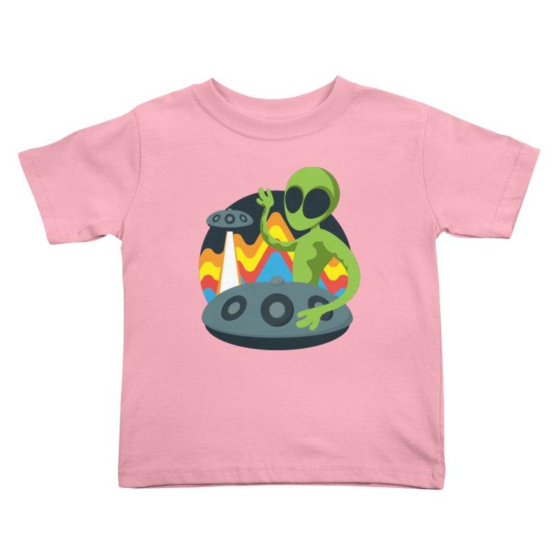 Green Alien Playing Handpan Kids Toddler T-Shirt by Handpan Merch (T-shirts, Hoodies, Accessories)