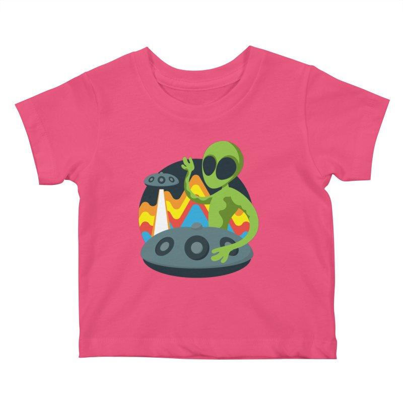 Green Alien Playing Handpan Kids Baby T-Shirt by Handpan Merch (T-shirts, Hoodies, Accessories)