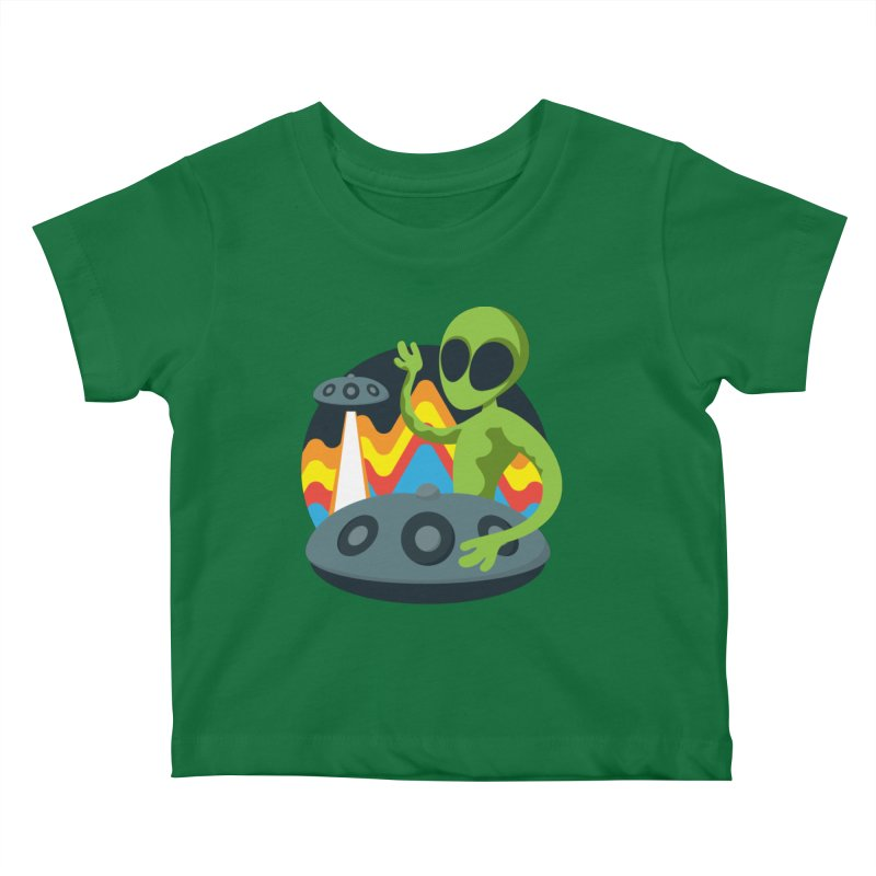Green Alien Playing Handpan Kids Baby T-Shirt by Handpan Merch (T-shirts, Hoodies, Accessories)