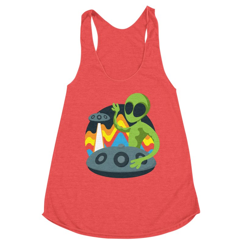 Green Alien Playing Handpan Women's Racerback Triblend Tank by Handpan Merch (T-shirts, Hoodies, Accessories)