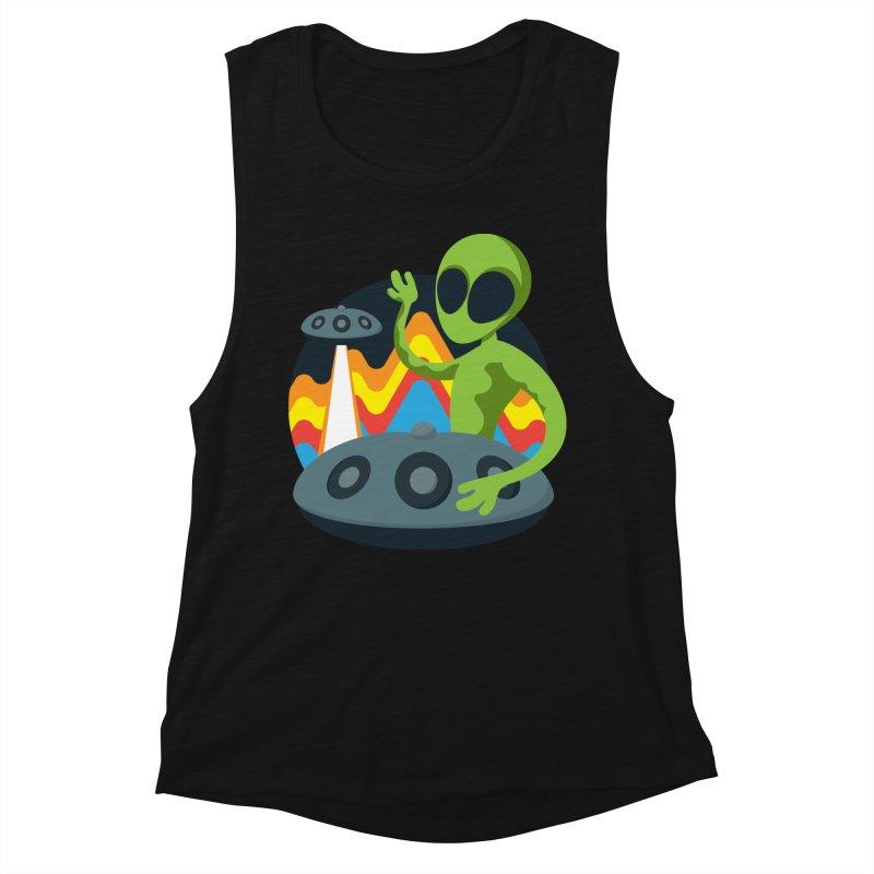 Green Alien Playing Handpan Women's Tank by Handpan Merch (T-shirts, Hoodies, Accessories)