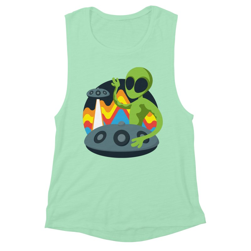 Green Alien Playing Handpan Women's Muscle Tank by Handpan Merch (T-shirts, Hoodies, Accessories)