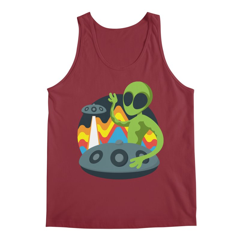 Green Alien Playing Handpan Men's Regular Tank by Handpan Merch (T-shirts, Hoodies, Accessories)