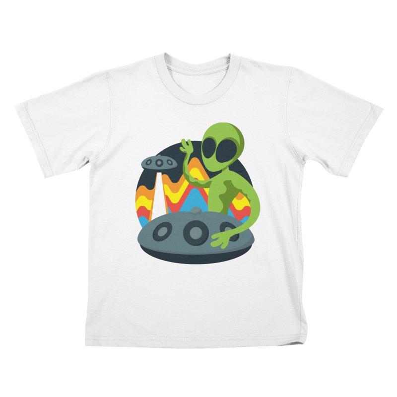 Green Alien Playing Handpan Kids T-Shirt by Handpan Merch (T-shirts, Hoodies, Accessories)