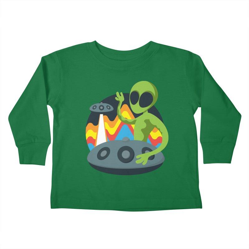 Green Alien Playing Handpan Kids Toddler Longsleeve T-Shirt by Handpan Merch (T-shirts, Hoodies, Accessories)