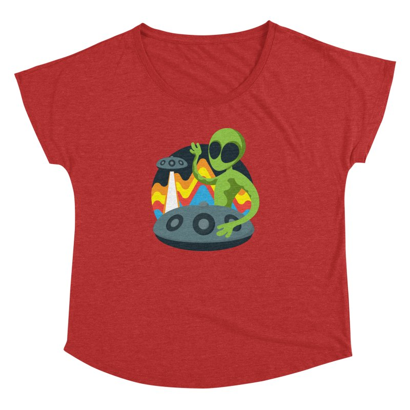 Green Alien Playing Handpan Women's Dolman Scoop Neck by Handpan Merch (T-shirts, Hoodies, Accessories)