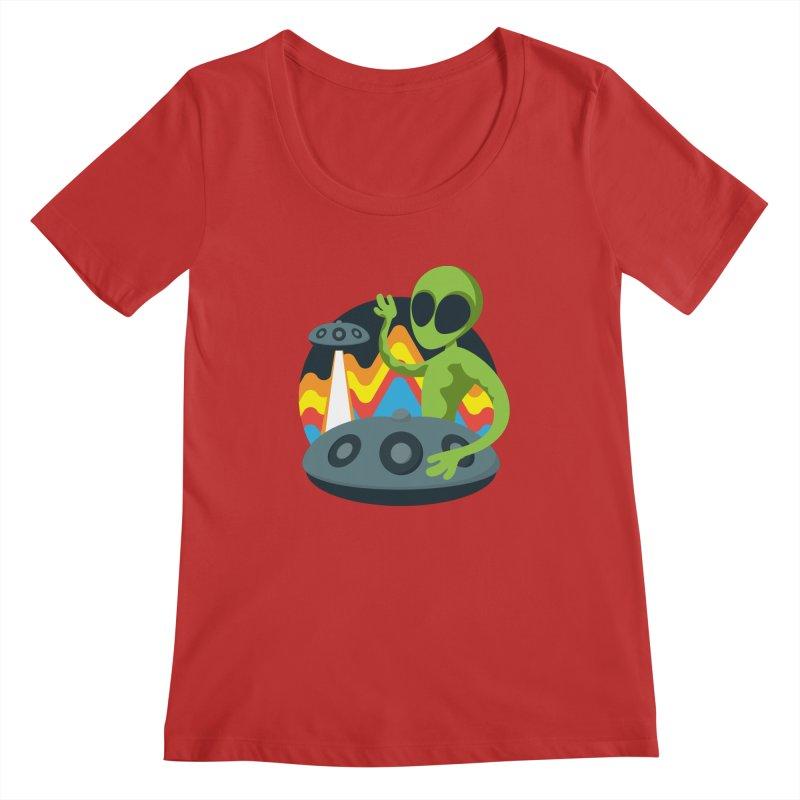 Green Alien Playing Handpan Women's Regular Scoop Neck by Handpan Merch (T-shirts, Hoodies, Accessories)