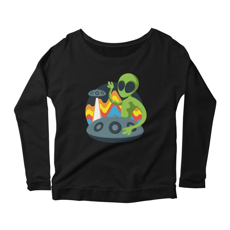 Green Alien Playing Handpan Women's Scoop Neck Longsleeve T-Shirt by Handpan Merch (T-shirts, Hoodies, Accessories)
