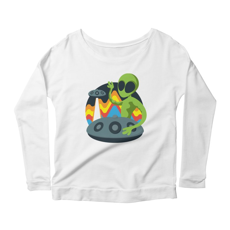 Green Alien Playing Handpan Women's Scoop Neck Longsleeve T-Shirt by Handpan Merch (T-shirts, Hoodies, Accessories)