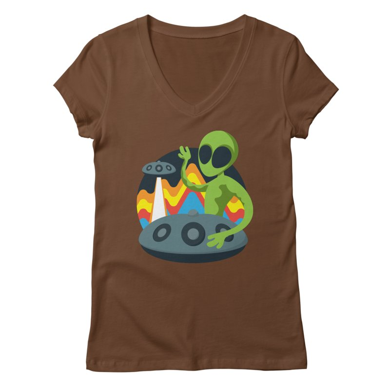 Green Alien Playing Handpan Women's Regular V-Neck by Handpan Merch (T-shirts, Hoodies, Accessories)