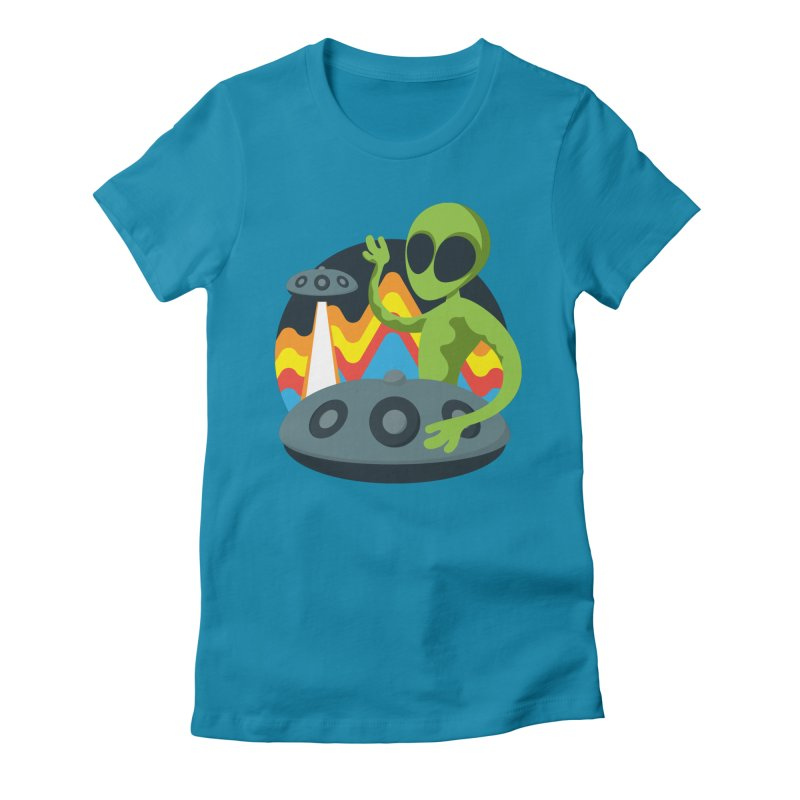 Green Alien Playing Handpan Women's Fitted T-Shirt by Handpan Merch (T-shirts, Hoodies, Accessories)
