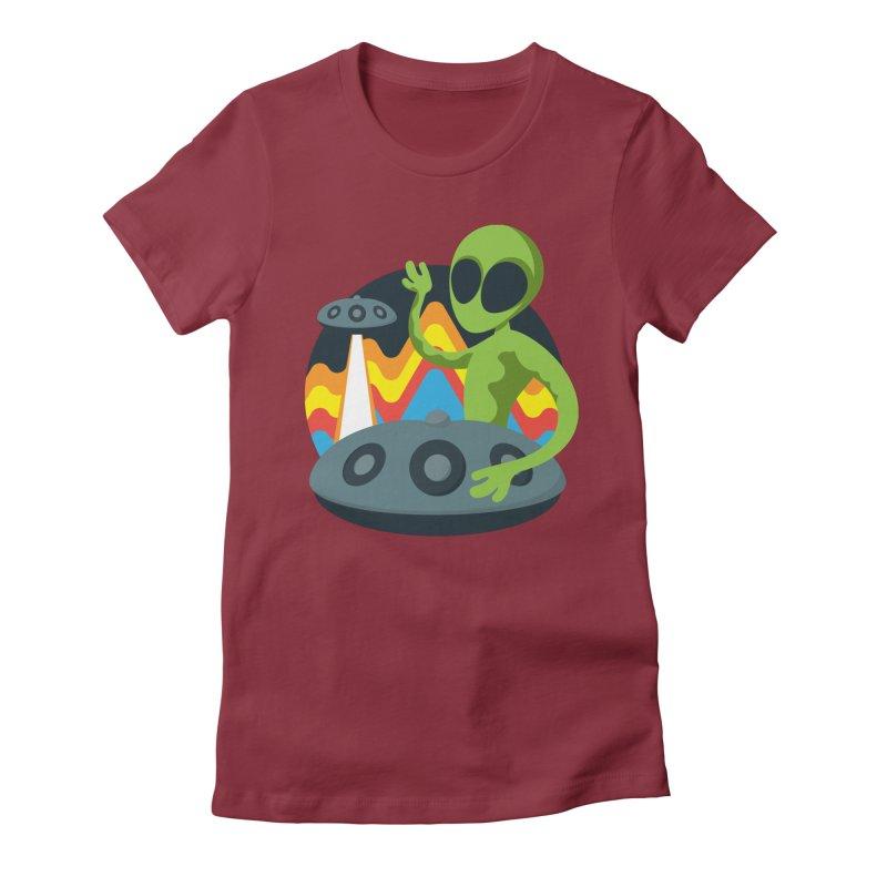 Green Alien Playing Handpan Women's Fitted T-Shirt by Handpan Merch (T-shirts, Hoodies, Accessories)