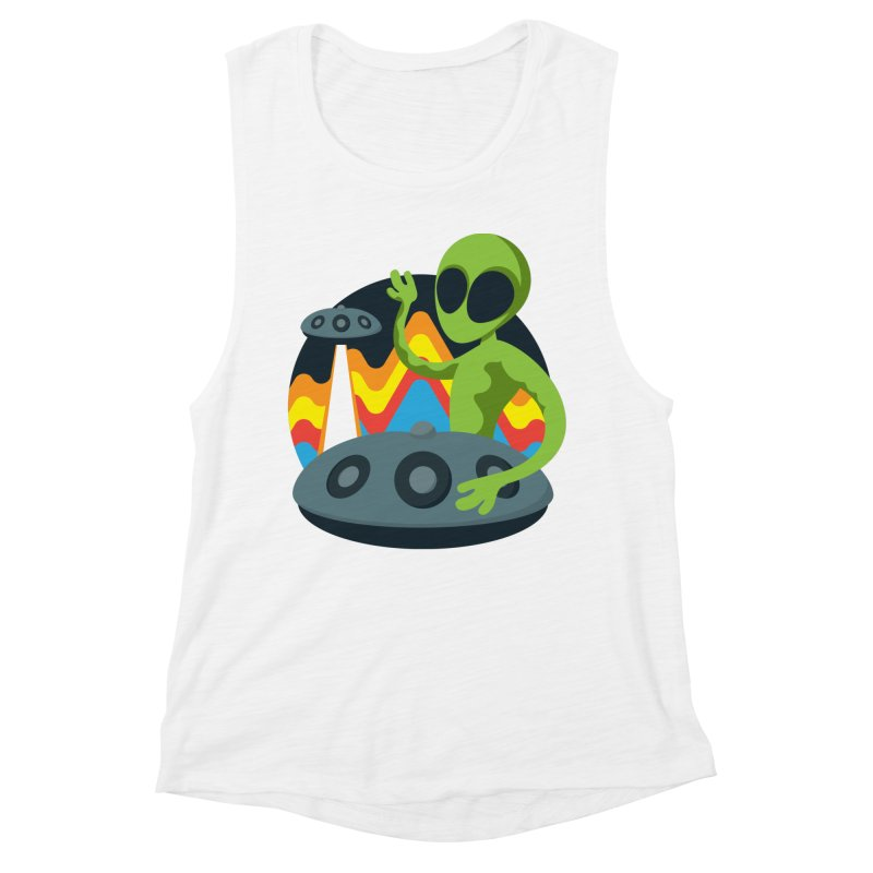 Green Alien Playing Handpan Women's Muscle Tank by Handpan Merch (T-shirts, Hoodies, Accessories)