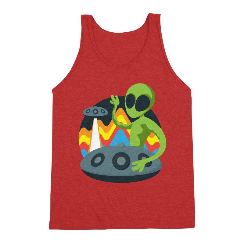 Green Alien Playing Handpan Men's Triblend Tank by Handpan Merch (T-shirts, Hoodies, Accessories)