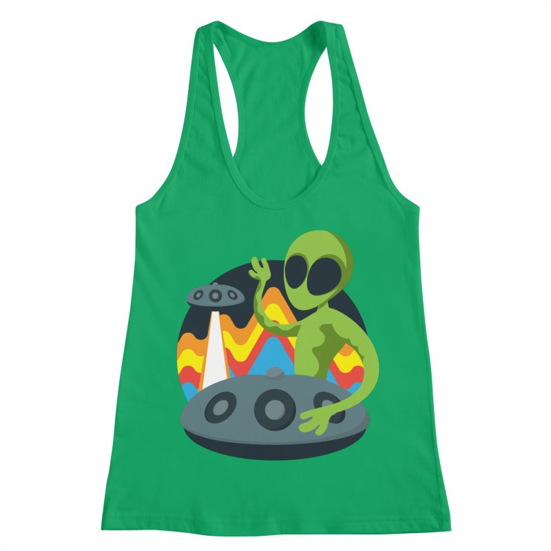 Green Alien Playing Handpan Women's Racerback Tank by Handpan Merch (T-shirts, Hoodies, Accessories)
