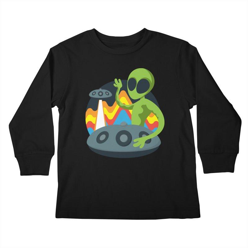 Green Alien Playing Handpan Kids Longsleeve T-Shirt by Handpan Merch (T-shirts, Hoodies, Accessories)