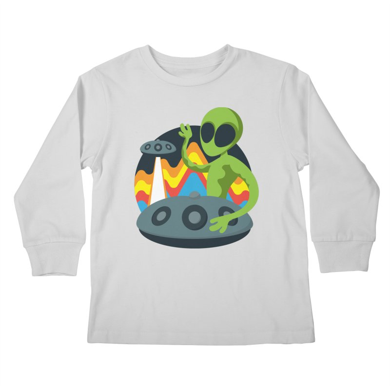 Green Alien Playing Handpan Kids Longsleeve T-Shirt by Handpan Merch (T-shirts, Hoodies, Accessories)
