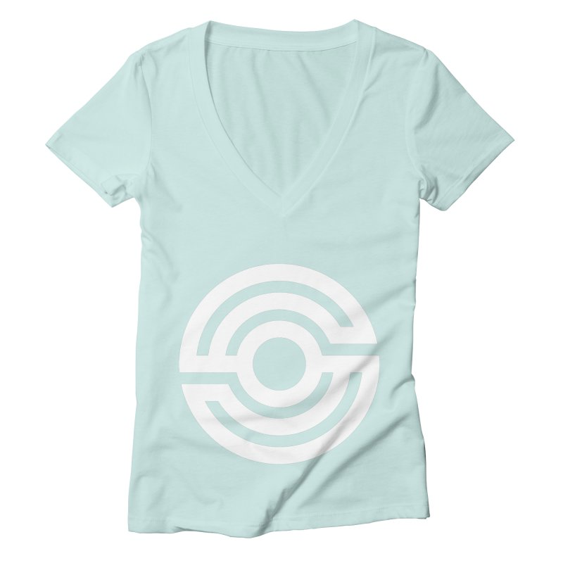 Handpan S Logo (White) Women's Deep V-Neck V-Neck by Handpan Merch (T-shirts, Hoodies, Accessories)