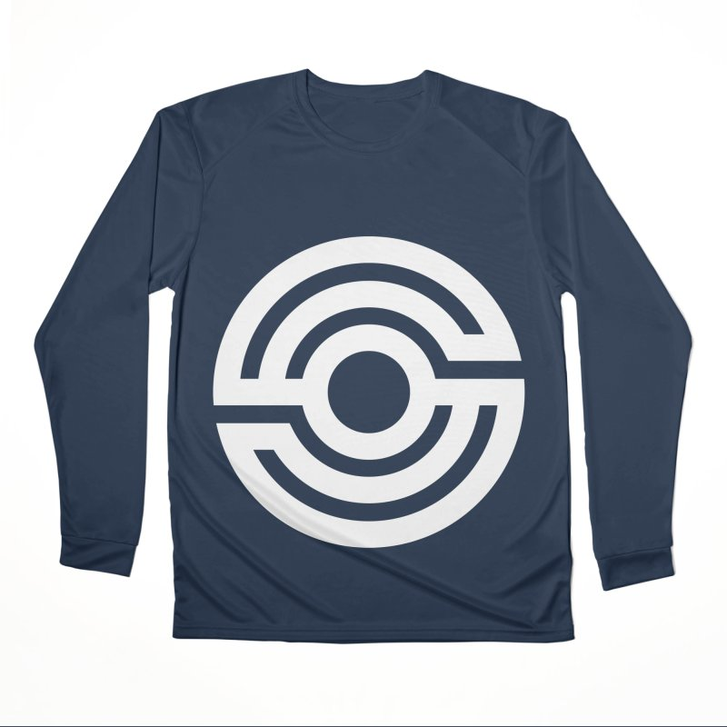 Handpan S Logo (White) Men's Performance Longsleeve T-Shirt by Handpan Merch (T-shirts, Hoodies, Accessories)