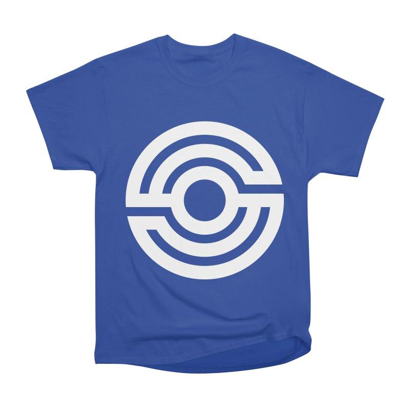 Handpan S Logo (White) Women's Heavyweight Unisex T-Shirt by Handpan Merch (T-shirts, Hoodies, Accessories)