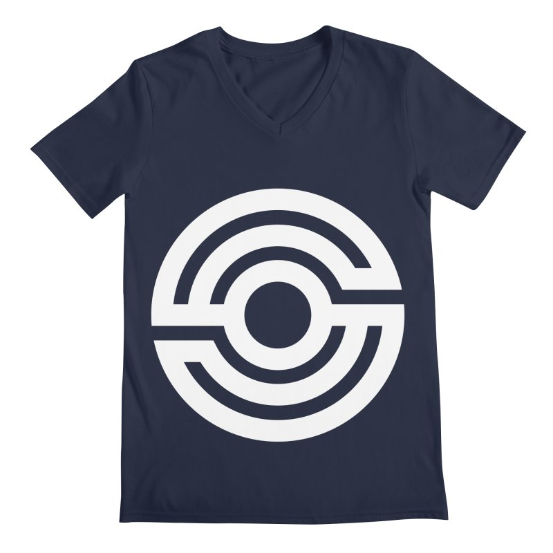 Handpan S Logo (White) Men's Regular V-Neck by Handpan Merch (T-shirts, Hoodies, Accessories)