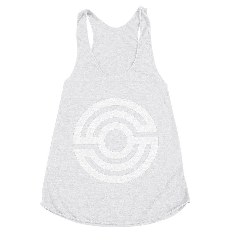 Handpan S Logo (White) Women's Racerback Triblend Tank by Handpan Merch (T-shirts, Hoodies, Accessories)