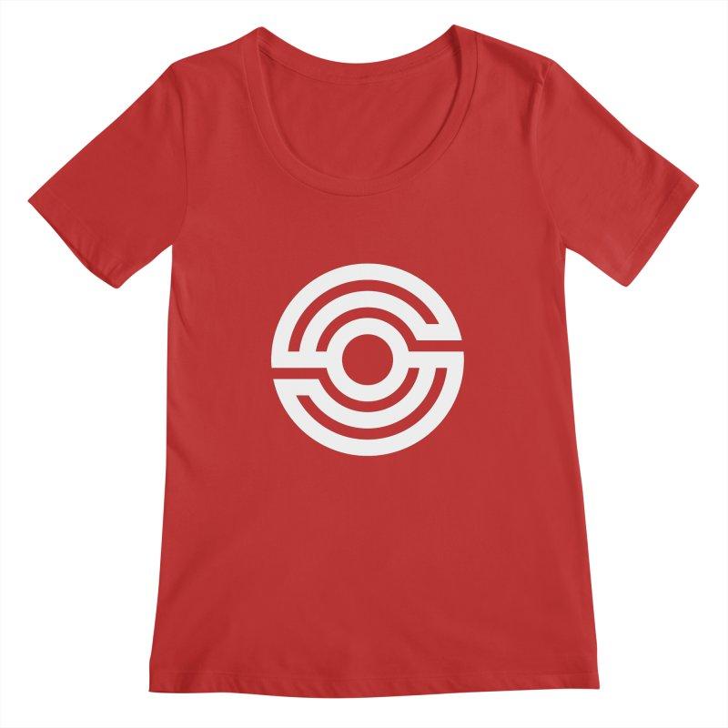 Handpan S Logo (White) Women's Regular Scoop Neck by Handpan Merch (T-shirts, Hoodies, Accessories)