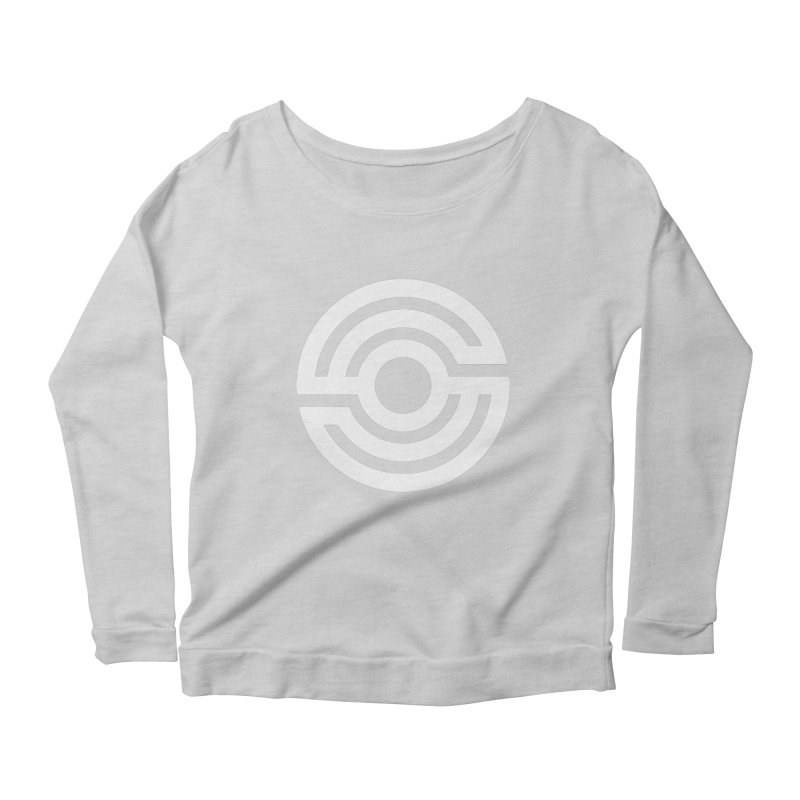 Handpan S Logo (White) Women's Scoop Neck Longsleeve T-Shirt by Handpan Merch (T-shirts, Hoodies, Accessories)