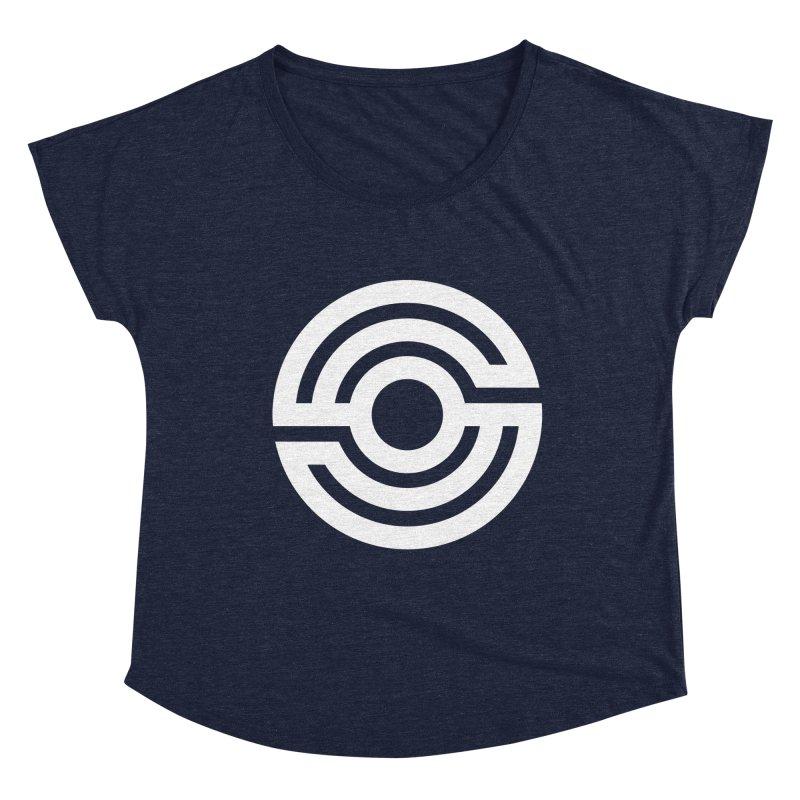 Handpan S Logo (White) Women's Dolman Scoop Neck by Handpan Merch (T-shirts, Hoodies, Accessories)