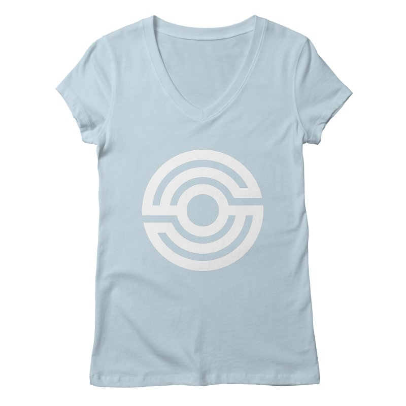 Handpan S Logo (White) Women's Regular V-Neck by Handpan Merch (T-shirts, Hoodies, Accessories)