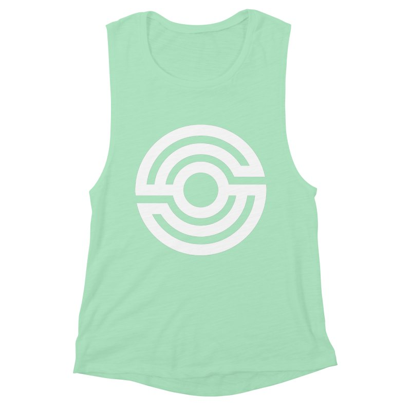 Handpan S Logo (White) Women's Muscle Tank by Handpan Merch (T-shirts, Hoodies, Accessories)