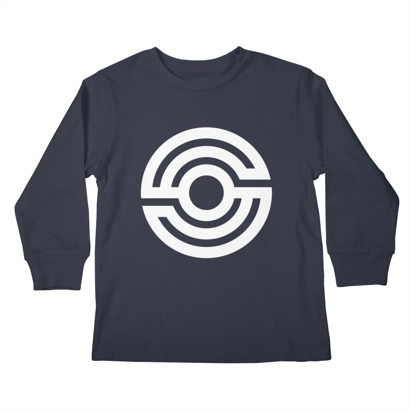 Handpan S Logo (White) Kids Longsleeve T-Shirt by Handpan Merch (T-shirts, Hoodies, Accessories)