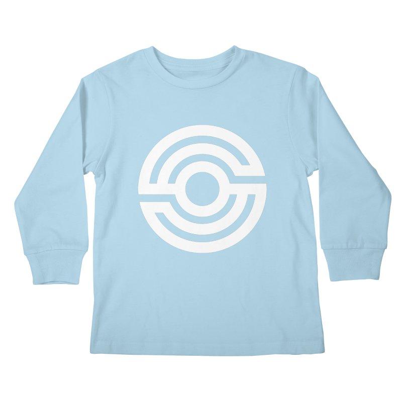 Handpan S Logo (White) Kids Longsleeve T-Shirt by Handpan Merch (T-shirts, Hoodies, Accessories)