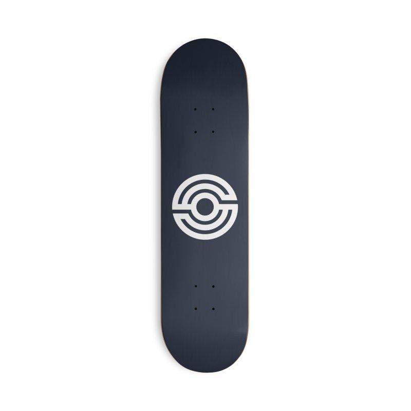 Handpan S Logo (White) Accessories Deck Only Skateboard by Handpan Merch (T-shirts, Hoodies, Accessories)