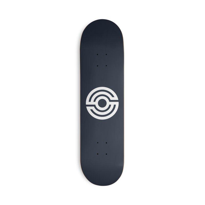 Handpan S Logo (White) Accessories Skateboard by Handpan Merch (T-shirts, Hoodies, Accessories)