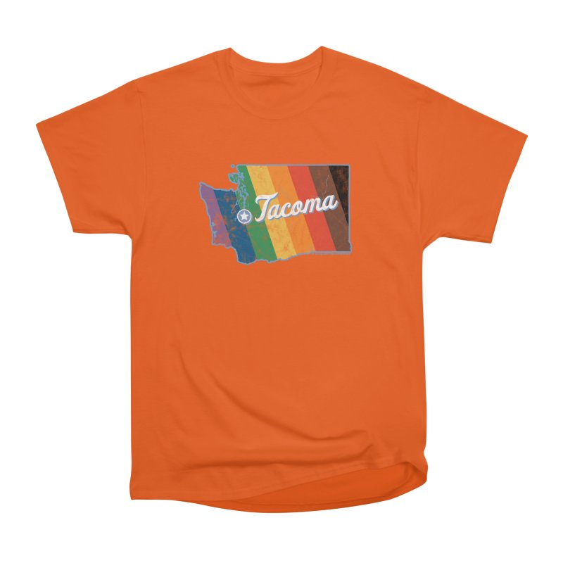 Tacoma WA Rainbow Pride Map Men's T-Shirt by SymerSpace Art Shop