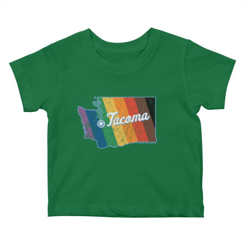 Tacoma WA Rainbow Pride Map Kids Baby T-Shirt by SymerSpace Art Shop