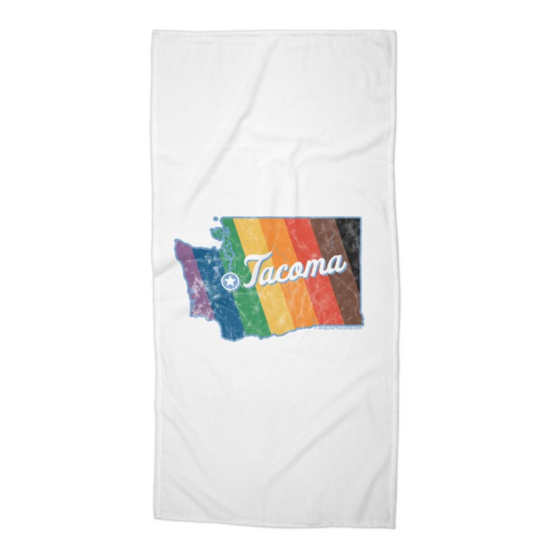 Tacoma WA Rainbow Pride Map Accessories Beach Towel by SymerSpace Art Shop
