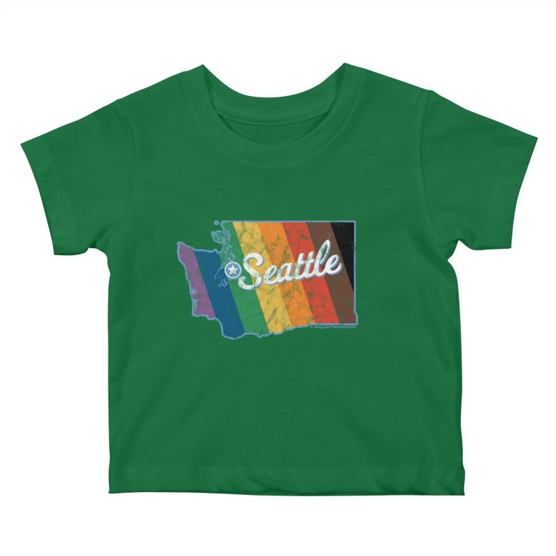 Seattle WA Rainbow Pride Map Kids Baby T-Shirt by SymerSpace Art Shop