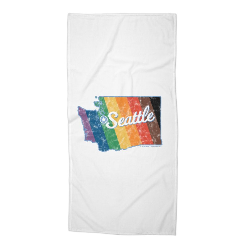 Seattle WA Rainbow Pride Map Accessories Beach Towel by SymerSpace Art Shop