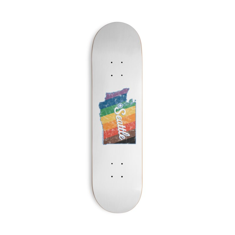 Seattle WA Rainbow Pride Map Accessories Skateboard by SymerSpace Art Shop