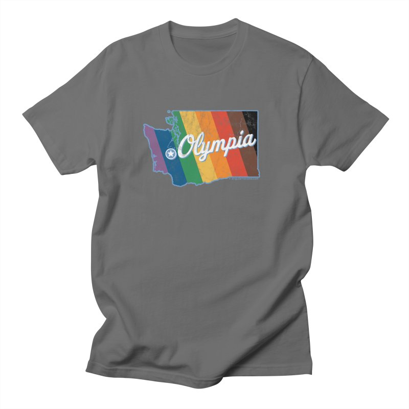 Olympia WA Rainbow Pride Map Men's T-Shirt by SymerSpace Art Shop