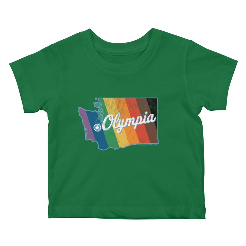 Olympia WA Rainbow Pride Map Kids Baby T-Shirt by SymerSpace Art Shop