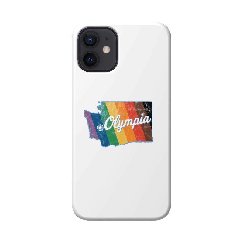 Olympia WA Rainbow Pride Map Accessories Phone Case by SymerSpace Art Shop