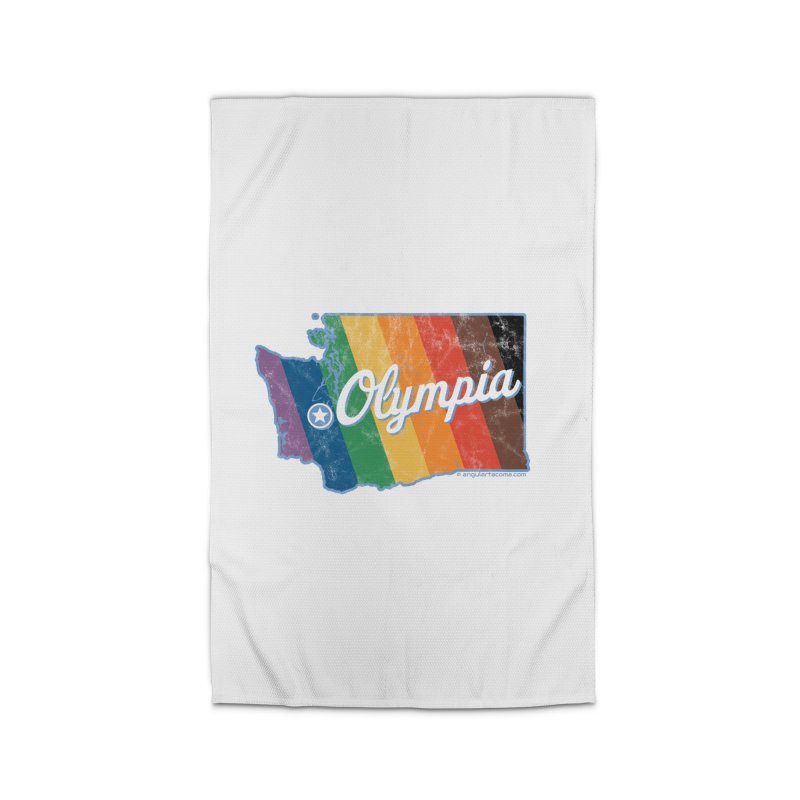 Olympia WA Rainbow Pride Map Home Rug by SymerSpace Art Shop
